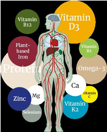 Vital substances for vegans
